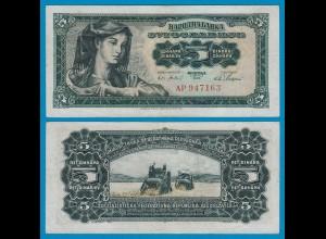 Jugoslawien - Yugoslavia 5 Dinara 1965 Pick 77b VF (3) (18302