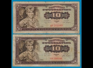 Jugoslawien - Yugoslavia 2 Stück á 10 Dinara 1965 Pick 78a + b VG (5) (18300