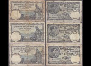 Belgien - Belgium 3 Stück á 5 Francs 1929,1930,1931 Pick 97b (13314