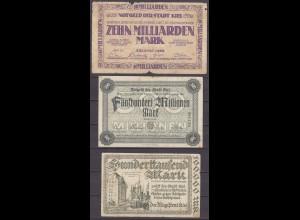 Der Magistrat der Stadt Kiel 3 Stück Gutscheine 1923 Notgeld (13323
