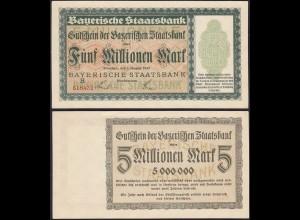 Bayern - 5 Millionen Mark Banknote Staatsbank Notgeld 1-8-1923 aUNC (1-) (13175