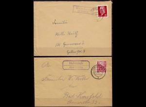 2 Umschläge Posthilfstelle/Landpost Hohnbach Kreis Grimma 1955 + 1963 (7631
