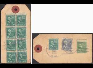 USA 1951 frankierter Anhäger US Franked Parcel Tag (28313