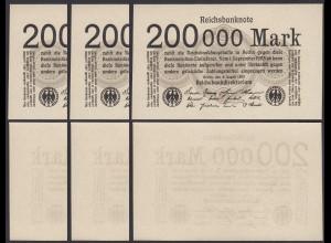 3 Stück á 200.000 200000 Mark 1923 Ro 99b Pick 100 - UNC (1) (28358