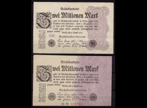 Germany - 2 pieces á 2 Million Mark 1923 with and without Number Pick 100 (cb159