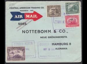 Nicaragua 1931 Bedarfsbrief von Managua nach Hamburg (28398