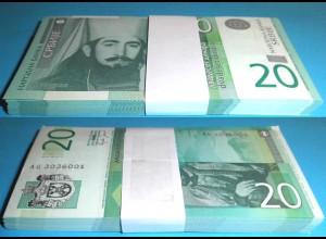 SERBIEN - SERBIA 20 Dinara 2006 Pick 47a UNC (1) Bundle á 100 Stück Dealer Lot