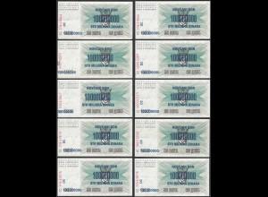 BOSNIA-HERZEGOVINA 10 Stück á 100-Millionen Dinara 10.XI.1993 Pick 37 aUNC (1-)