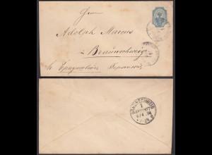 Russland 1894 Alter Ganzsachen Umschlg 10 Kopeken nach Braunschweig (28406