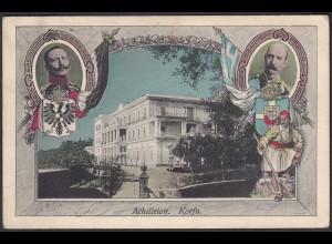 AK Greece - Griechenland 1908 Achilleion Korfu nach Kiel (28412