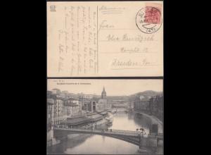 Spanien - Spain AK 1911 Bilbao PUENTE DE S.FRANCISCO nach Dresden (28422