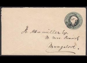 Indien - India alter kleiner Half Anna Ganzsachen Umschlag gebraucht (28436