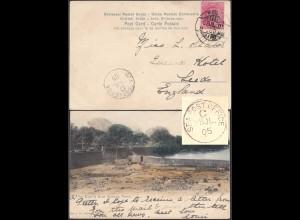 Indien - India 1905 Schiffspost AK POONA River & Bund Gardens - Leeds (28450