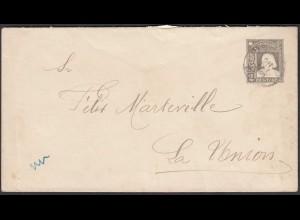 Chile 1909 Ganzsachen Umschlag Postal Stationrey nach La Union (28454