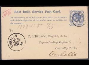 East India Service Postcard 1888 Ganzsache postal stationery postcard fine used