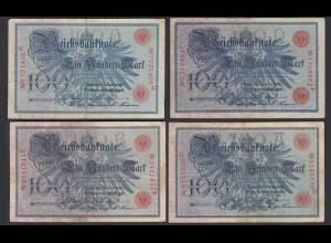 4 Stück á 100 Mark 1908 Ro 33b A/D, B/E, D/F, Q/M F (4) (28474