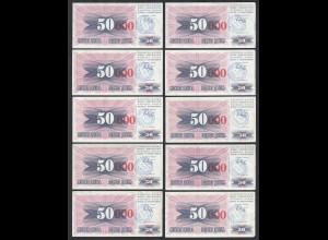 BOSNIA - HERZEGOVINA - 10 Stück á 50000 Dinara 15.10.1993 Pick 55b XF (2)