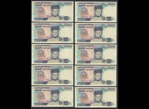 Indonesien - Indonesia - 10 Stück á 1000 Rupiah 1987 Pick 124 UNC (1) (89200