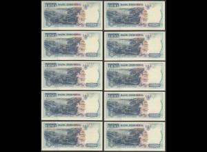 Indonesien - Indonesia - 10 Stück á 1000 Rupiah 1992/1994 Pick 129c UNC (1)