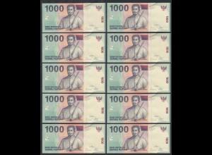 Indonesien - Indonesia - 10 Stück á 1000 Rupiah 2000/2006 Pick 141g UNC (1)