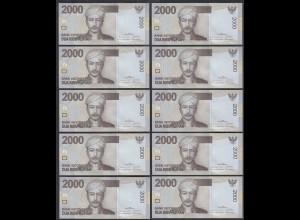Indonesien - Indonesia - 10 Stück á 2000 Rupiah 2009 Pick 148a UNC (1) (89205