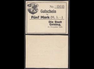 Geising 5 Mark 1918 Stadt Gutschein Notgeld (28564