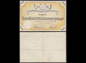 Ludwigsburg 100 Million Mark 1923 Stadtgemeinde Gutschein Notgeld (28567