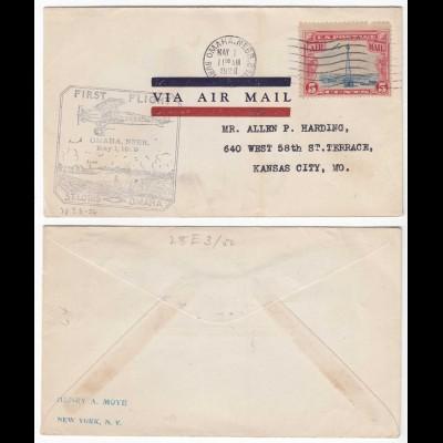 USA 1929 First Flight ST.LOUIS - OMAHA NEBRASKA Umschlag nach Kansas City