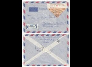 Israel - 1958 Luftpost R-Brief Givataylm nach Mettmann (28589