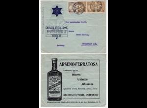 Mexico 1921 Advertising Cover MEXICO via NEW YORK to FRANKFURT GERMANY (28626