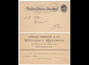 US Advertising Postcard 1892 INDIANA WHOLSALE HARDWARE PHILADELPHIA (28641