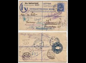 SWAKOPMUND 1918 KOS Registeres Letter Via Friedensbüro Bern - Weimar nach Berlin