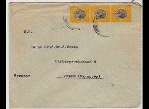 1932 Deutscher Wirtschaftsverband Tanganyika Brief über Iringa Daressalam-Stade