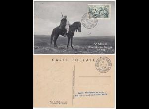 Morocco - Maroc 1954 Maximum card horses Bedouins CASABLANCA (28649