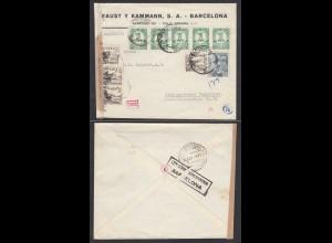 Spanien 1943 Barcelona Zensur 2523 nach Bad Cannstadt (28726