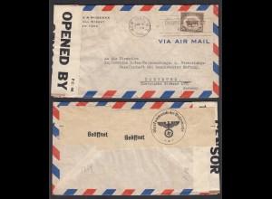 USA 1940 Doppelzensur P.C.66 + Oberkommando Wehrmacht nach Dortmund (28728
