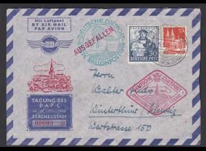 1949 Ballonpost ausgefallen Tagung DAPC SST Bergneustadt nummeriert (28662