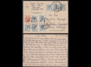 Alliierte Bes. SBZ Ganzsache Postkarte 10-fach Frankatur 1948 Bad Elster-Berlin