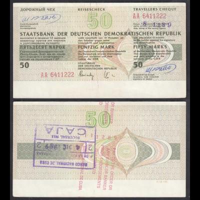 DDR Reisescheck 50 Mark Staatsbank Eingelöst in der Karibik 1989 (23445