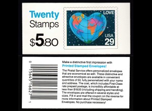 USA United States of America Booklet MH 0-144 postfrisch ** MNH (28859