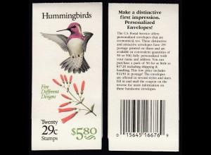 USA United States of America Booklet MH 153 postfrisch ** MNH Kolibris (28867
