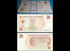 Simbabwe Zimbabwe 20 Dollars 2006 UNC P 40 UNC (1) Bundle á 100 Stück Dealer Lot