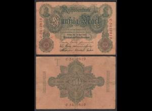 Reichsbanknote 50 Mark 1910 Ro 42 Pick 41 T/C F (4) (28897