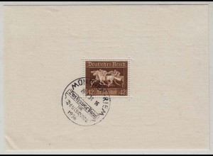Germany 1936 Third Reich S-Sheet Mi.Block 4 Brown Ribbon Horse spec.cancelled