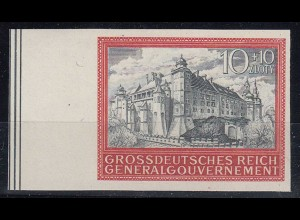 Germany - Generalgouvernement POLAND OCCUPATION imperforated stamp Cracow Castle