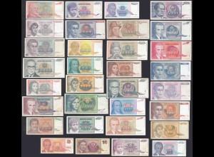 Jugoslawien - Yugoslavia 32 Stück verschiedene Banknoten (28906