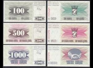 Bosnien Herzegowina - 100,500,1000 Dinara 1992 100 D. XF (2) 500 + 1000 UNC (1)