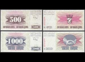 Bosnien Herzegowina - 500 + 1000 Dinara 1992 Pick 14a + 15a UNC (1) (28913