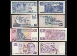 SINGAPUR - SINGAPORE 4 Stück 1,1,2,2 Dollar Banknoten (28937