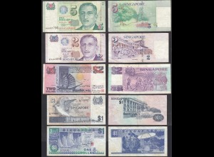 SINGAPUR - SINGAPORE 5 Stück 1,1,2,2,5 Dollar Banknoten (28938